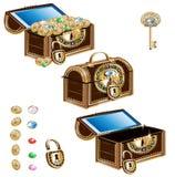Insieme dell'ornamento dei gioielli decorato forziere Illustrazione di Stock