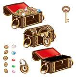 Insieme dell'ornamento dei gioielli del forziere Royalty Illustrazione gratis