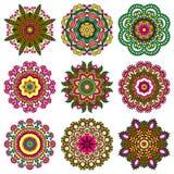 Insieme dell'ornamento del cerchio, pizzo rotondo ornamentale Fotografie Stock