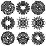 Insieme dell'ornamento del cerchio, pizzo rotondo ornamentale Fotografie Stock Libere da Diritti