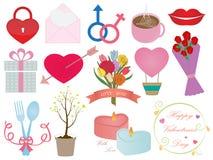 Insieme dell'ornamento delle icone di giorno di biglietti di S. Valentino Fotografia Stock