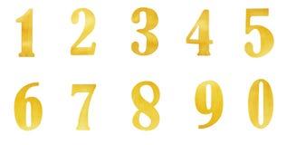 Insieme dell'oro dell'oro dei numeri isolato sopra fondo bianco Digitahi Immagini Stock