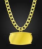 Insieme dell'oro della catena e della piastra Fotografia Stock