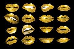 Insieme dell'oro delle labbra Elemento di scintillio di progettazione illustrazione vettoriale