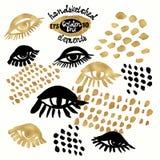 Insieme dell'oro disegnato a mano del blog del fondo del elementswith d'avanguardia di progettazione Immagine Stock