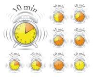 Insieme dell'orologio del temporizzatore Immagini Stock Libere da Diritti