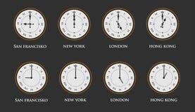 Insieme dell'orologio della fascia oraria del mondo con i numeri romani Illustrazione di vettore immagini stock libere da diritti