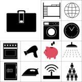 Insieme dell'ostello delle icone Illustrazione di vettore Fotografie Stock Libere da Diritti
