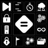 Insieme dell'uguale, cartella, regolazioni, bandiera, serratura, infinito, server, Lo illustrazione di stock
