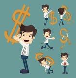 Insieme dell'uomo d'affari con le pose dei caratteri di simbolo di dollaro Fotografie Stock Libere da Diritti