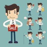 Insieme dell'uomo di vendita del youg al deposito di acquisto del mercato royalty illustrazione gratis