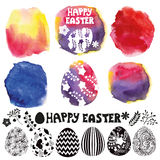 Insieme dell'uovo di Pasqua Creatore dell'acquerello Immagine Stock