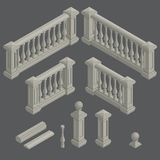 Insieme della balaustra architettonica dell'elemento, vettore Fotografia Stock