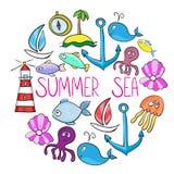 Insieme della balena, barca, isola, ancora, polipo, jelifish, lighthous Fotografia Stock