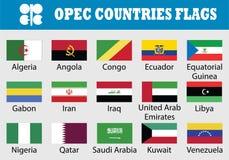 Insieme della bandiera dei paesi dell'OPEC illustrazione di stock