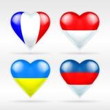 Insieme della bandiera del cuore della Francia, del Monaco, dell'Ucraina e della Russia degli stati europei Fotografie Stock