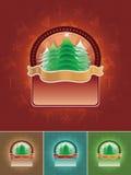 Insieme della bandiera dell'albero di Natale Fotografia Stock Libera da Diritti