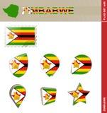 Insieme della bandiera dello Zimbabwe, insieme #85 della bandiera illustrazione di stock