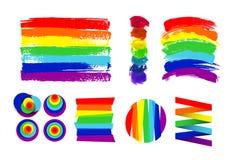 Insieme della bandiera di LGBT, del cerchio e dei punti di colore contro distinzione omosessuale Disegnato a mano Rainbow Illustr royalty illustrazione gratis