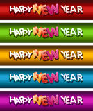 Insieme della bandiera di nuovo anno felice. Immagini Stock