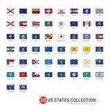 Insieme della bandiera di vettore di 50 stati USA Bandiere ufficiali di vettore di tutti e 50 i stati Gli stati USA hanno ondeggi Immagini Stock