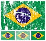 Insieme della bandierina del grunge del Brasile Fotografie Stock Libere da Diritti