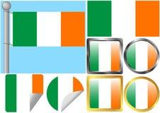 Insieme della bandierina dell'Irlanda Immagini Stock Libere da Diritti