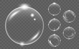 Insieme della bolla di aria trasparente bianca del sapone, isolato su fondo nero Fotografia Stock Libera da Diritti