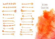 Insieme della borsa degli arnesi del progettista Frecce d'annata ornamentali per la pagina d Fotografie Stock