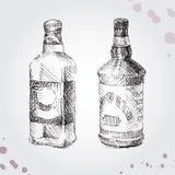 Insieme della bottiglia del disegno Fotografie Stock Libere da Diritti