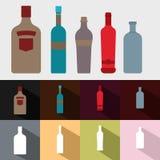 Insieme della bottiglia di vino Immagini Stock