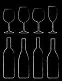 Insieme della bottiglia e di vetro di vino del gesso Fotografia Stock Libera da Diritti