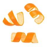Insieme della buccia del mandarino del ricciolo isolata su fondo bianco Fotografia Stock Libera da Diritti