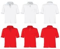Insieme della camicia di polo. Bianco & colore rosso Immagini Stock