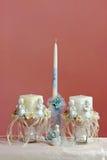 Insieme della candela di battesimo Fotografie Stock