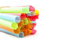 Insieme della cannuccia dei tubi di plastica variopinti Fotografie Stock