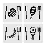 Insieme della carne del bbq delle icone Fotografia Stock Libera da Diritti