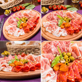 Insieme della carne della fetta Fotografie Stock