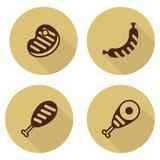 Insieme della carne marrone del bbq delle icone Fotografia Stock