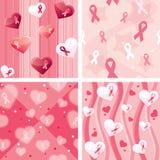 Insieme della carta da imballaggio di consapevolezza del cancro al seno Immagini Stock Libere da Diritti