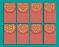 Insieme della carta dell'invito o dell'affare con il modello della mandala royalty illustrazione gratis