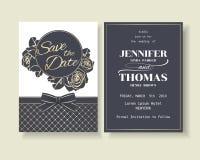 Insieme della carta di lusso dell'invito di nozze dei blu navy con la decorazione delle rose Fotografia Stock Libera da Diritti