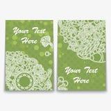 Insieme della carta verde con l'ornamento complesso Immagine Stock Libera da Diritti