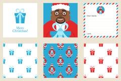 Insieme della cartolina d'auguri del nuovo anno e di Buon Natale Comprende i modelli senza cuciture di tema di festa Afroamerican Fotografia Stock Libera da Diritti