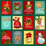 Insieme della cartolina d'auguri di festa del nuovo anno e di Natale illustrazione di stock