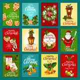 Insieme della cartolina d'auguri di vacanza invernale di Natale illustrazione di stock