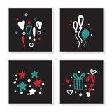 Insieme della cartolina d'auguri per il Buon Natale, nuovo anno Natale regalo, stelle, cuore illustrazione di stock