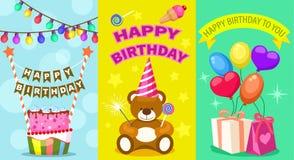 Insieme della cartolina dei bambini di buon compleanno Fotografie Stock