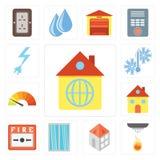 Insieme della casa, sensore, finestra, allarme antincendio, metro, temperatura, prigioniero di guerra royalty illustrazione gratis