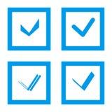 Insieme della casella di controllo Accetti, casella di controllo o segno di spunta con la scatola blu della struttura Immagini Stock Libere da Diritti